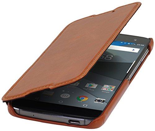 StilGut Book Type Case, Hülle Leder-Tasche für BlackBerry DTEK60. Seitlich klappbares Flip-Case aus Echtleder mit On-/Off-Funktion für das Original BlackBerry DTEK60, Cognac