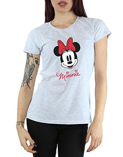 Disney Femme Minnie Mouse Face T-Shirt Heather Gris