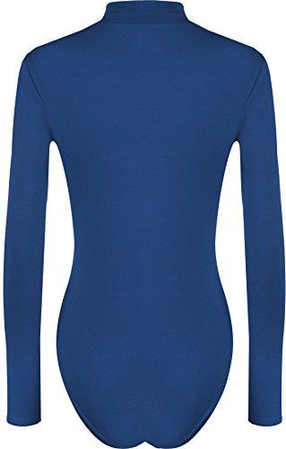WearAll - Übergröße Damen Rollkragen Bodysuit Langarm Leotard - Ein Farben - Größe 44 - 54 Königsblau