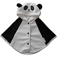 0-3 months - Baby Boys Girls Unisex Cute Black and White Panda Hooded Fleece Cape Poncho