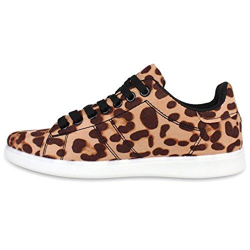 Sportliche Damen Sneakers | Sneaker Low Metallic Lack | Turnschuhe Muster Glitzer | Retro Flats Schnürer | Animalprints Veloursleder-Optik Leopard