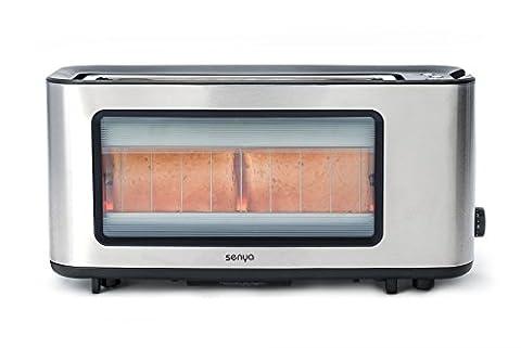 Senya grille-pain Inox et verre Toast Perfect, longue fente extra large pour baguette, pince à toast en bois fourni, fenêtre transparent avec corps en Acier Inoxydable, 1200W