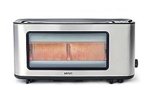 Senya SYBF-T006S grille-pain Inox et verre Toast Perfect, longue fente extra large pour baguette, pince à toast en bois fourni, fenêtre transparent avec corps en Acier Inoxydable,  1200W