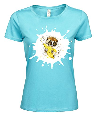 makato Damen T-Shirt Luxury Tee Lemur Banane Aqua