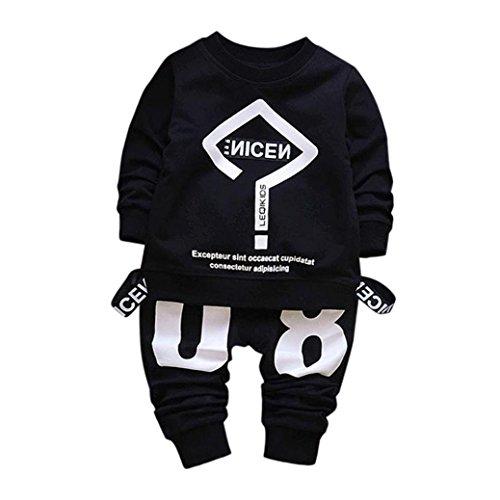SUCES Bekleidung Kleinkind Jungen Sports Kleidung Set mit Kinder Langarm Sweatshirts Pullover T-shirts+ Lang Hosen Outfits Kindermode Kinderkleidung Neugeborenen Hosen Sweatshirt (2T, Black) (Kleinkind Kinder Bekleidung Angel)