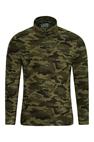 Mountain Warehouse Herren-Camber-Fleece - Ultraleicht, atmungsaktiv, wasserdichte Jacke, schnell trocknend, Antipilling-Sweatshirt, extra Belüftung - zum Wandern, Frühling Camouflage Medium