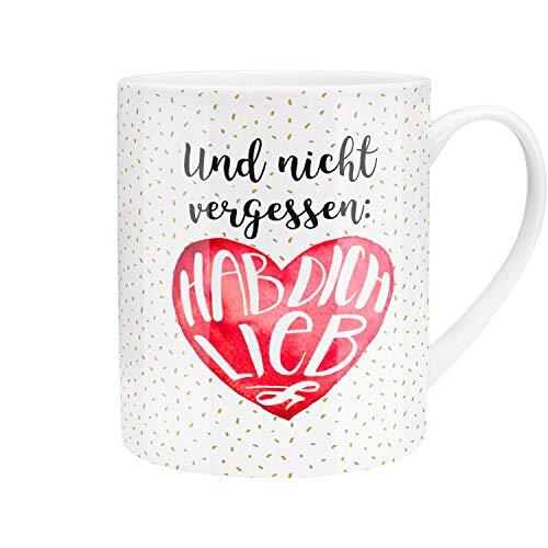 Die Geschenkewelt 45759 XL Tee-Tasse, Hab Dich lieb, Porzellan, 60 cl, mit Geschenk-Banderole, Rot