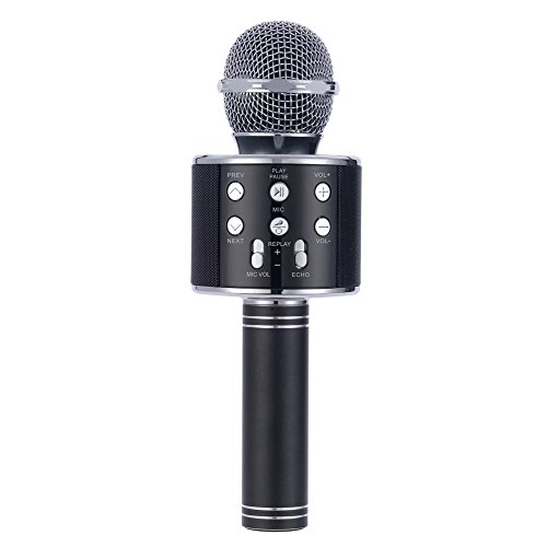 JDSenYe Mini Portable Mic Karaoke Wireless Bluetooth 4.1 Mikrofon Lautsprecher Outdoor KTV WS-858 (Schwarz)