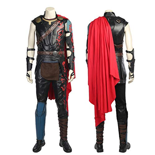 Kostüm Deluxe Thor - QWEASZER clothing Thor 3 Ragnarök Marvel Avengers 1: 1 Kostüm Deluxe Edition Thor Superheld Cosplay Kleidung Kostüm Require Requisiten Anpassbare Größe,Black-S