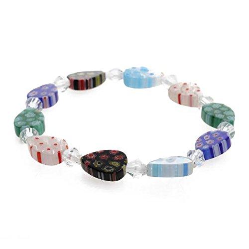 Skyllc® Forma a goccia colorato Perle di vetro di Murano Spaced Bracciale Trasparente cavo di cristallo elastica perline Catena taglia 14 * 10mm