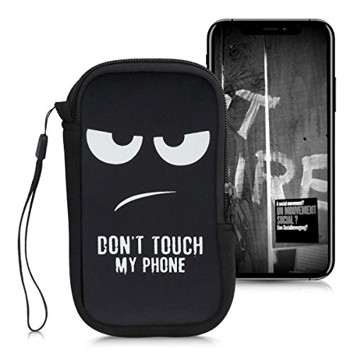 """kwmobile Housse de Protection pour Smartphone L - 6,5"""" - Sacoche de Protection pour Téléphone Portable en Néoprène Blanc-Noir"""