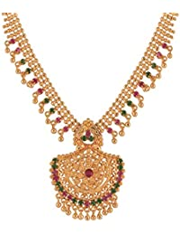 Ganapathy Gems Traditional Kerala Design Multi-Colour Gold Plated Chain Necklace For Women & Girls (10721_GPJ)...