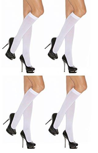 Neska Moda Women's 4 Pair Nylon White Knee Length Classy Stockings Tights  available at amazon for Rs.219