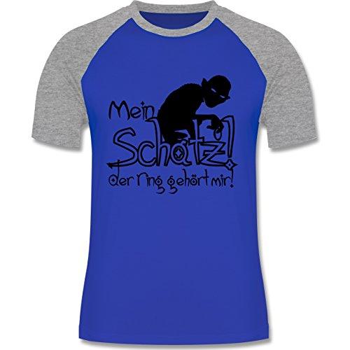 JGA Junggesellenabschied - Mein Schatz der Ring gehört mir - zweifarbiges Baseballshirt für Männer Royalblau/Grau meliert