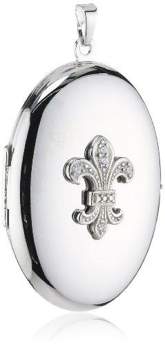r 925 Sterling Silber aufklappbar Medaillon oval mit Lilie rhodiniert 36 mm AMZ0169 ()