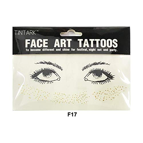 YWJ Gesicht Tattoo Aufkleber, temporäre Metallic Tattoos Sommersprossen Glitter Tattoos Edelsteine Halloween Festival Party Make Up Zubehör, Gesicht Kunst Aufkleber Tattoo,7
