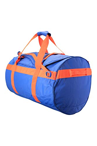 Mountain Warehouse Cargo-Tasche - 90-Liter-Rucksack, 3 Möglichkeiten zum Tragen, 1 großes Fach mit Reißverschlus, Seesack mit Tragegriffen - für Reise, Camping, Festival, Frühling Blau
