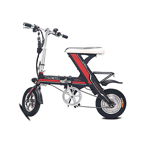 Unisexo Bicicleta electrica, 12 Pulgadas E-Bici híbrida Plegable con Marco de aleación de Aluminio súper Ligero, Freno de Disco Doble para Commuter City,Black