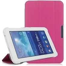 iHarbort® Samsung Galaxy Tab 3 7.0 Lite Funda - ultra delgado ligero Funda de piel de cuerpo entero para Samsung Galaxy Tab 3 7.0 Lite (SM-T110 SM-T111 SM-T113 SM-T116) (Galaxy Tab 3 7.0 Lite, rosa fuerte)