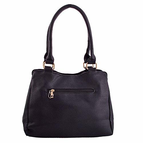 LeahWard Frauen weiche leichte Schulter Handtaschen Qualität Faux Leder Handtaschen für Frauen Für die Schule CW14106 (Perle Schultertasche) Schwarz Schultertasche