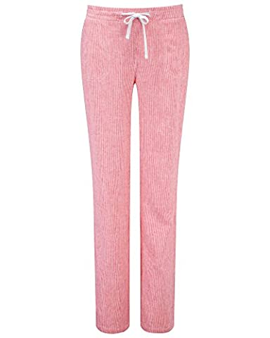 Cotton Traders Womens Ladies Coral Stripe Pull On Linen Blend Trousers 27