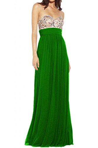 Pregiata TOSKANA sposa a forma di cuore cristallo Chiffon Bete abiti da sera lungo Party ball vestimento saldamente Verde