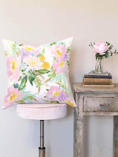 Kissenbezug Blush und Tangerine Floral 18 x 18 Zoll 45 x 45 cm