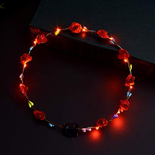 PT-KMKMING Zehn Lichter Zehn Blumen Blinklichter Hawaiianischer Brautkranz, LED Glowing Party Hair Wreath