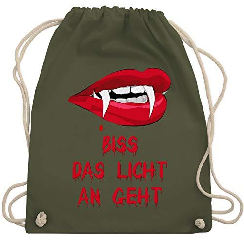 Halloween - Biss das Licht an geht Vampir - Unisize - Olivgrün - WM110 - Turnbeutel & Gym Bag