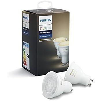 Philips Hue White Ambiance GU10 LED Spot 2-er Set, dimmbar, alle Weißschattierungen, steuerbar via App, kompatibel mit Amazon Alexa (Echo, Echo Dot)