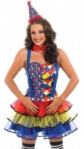 Damen Sexy Clown Zirkus Karneval Kostüm Kleid Outfit &Übergröße (UK - Sexy Übergröße Clown Kostüm