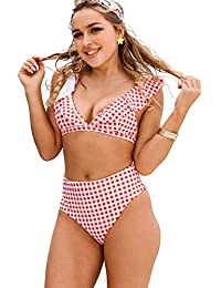 e30d42f00b5 Blooming Jelly Womens High Waisted Bikini Set Two Piece Swimsuit Ruffle  Flounce Triangle Bathing Suit
