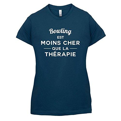 Bowling est moins cher que la thérapie - Femme T-Shirt - 14 couleur Bleu Marine