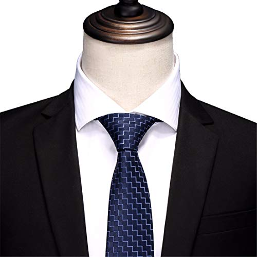 BAIJJ 8cm Marineblau Welle geometrischen klassischen Design Männer Krawatte Partei lässig Geschäftsbankett Hochzeit Bräutigam in Geschenkbox -