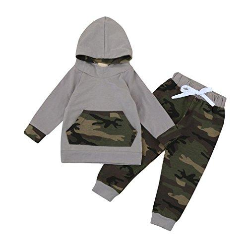 ropa de bebé, Honestyi Camuflaje con capucha de manga larga blusa + pantalones dos trajes (Camuflaje, 60)