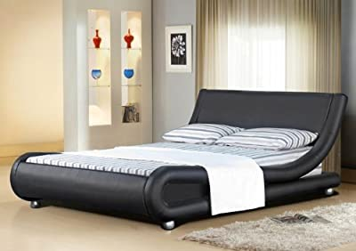 4ft6 Italian Designer Faux Leather Double Mallorca Bed Frame in BLACK - cheap UK bed store.