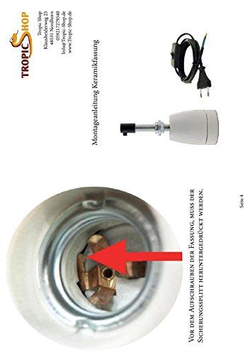 Keramikfassung -/ Porzellanfassung mit Winkelgelenk 180° schwenkbar Inkl. Zuleitung mit Schalter - 5