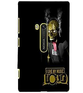 PrintVisa Quotes & Messages Music Skull 3D Hard Polycarbonate Designer Back Case Cover for Nokia Lumia 920