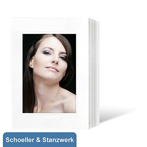 50 Stück Endlosleporellos für 13x18 cm Fotos Hochformat - weiß mit Blindprägung - Schoeller & Stanzwerk