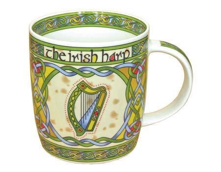 Irish Weave Keramikbecher Kollektion mit Harfe Ring Druck
