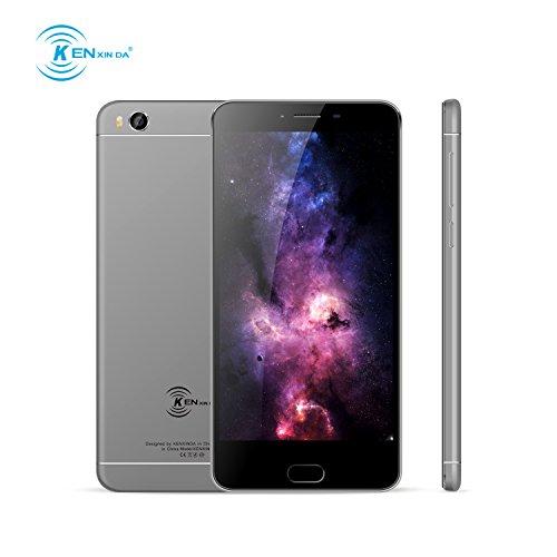 Smartphone Pas Cher,Ken V8 Telephone Portable Debloqué 4G (Écran: 5,5 Pouces - 16Go - 2Go de RAM - MT6735 Quad Core - Double SIM - Appareil photo 13MP - Empreinte Digitale - Android OS 6.0) - Gris