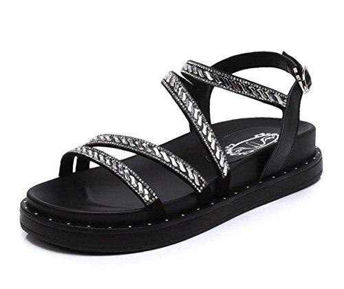 GLTER Damen Knöchel Bügel geöffnete Zehe-Sandelholze 2017 Sommer-neue Diamant-Art- und Weisefrau-Sandelholz-mittlere Ferse-flache Wölbungs-Leder-römische Schuhe Black