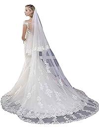 Dressvip 300cm*150cm Voile de mariée Longue en Dentelle avec Peigne