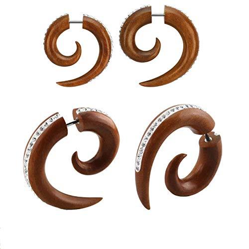 Fake Plugs Spirale Schnecke Single Holz Piercing Ohrdehner Ohrplug 6mm