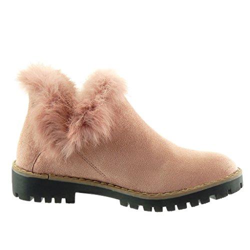 Angkorly - Scarpe da Moda Stivaletti - Scarponcini chelsea boots donna pelliccia finitura cuciture impunture Tacco a blocco tacco alto 3.5 CM Rosa