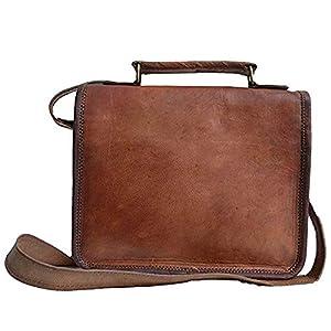 41igMb55d L. SS300  - 33 cm Hecha a mano Marron elegante Vintage Bolso de cuero del mensajero cada día Bolso de hombro cartera para tablets…