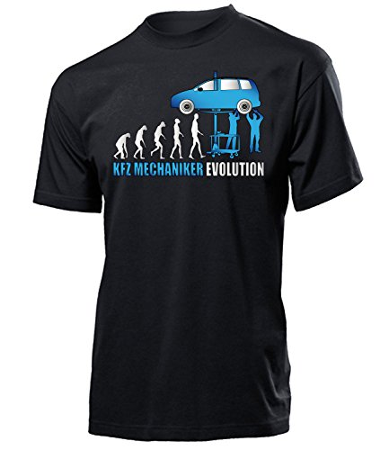 Kfz Mechaniker Evolution 4579 Herren T-Shirt (H-SW-Weiss-Blau) Gr. M