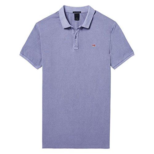 Scotch & Soda Herren Poloshirt Classic Garment-Dyed Pique Polo Violett (Lilac 0706)