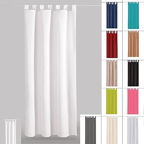 Dekoschal Gardine blickdicht Schlaufenschal Microsatin, Auswahl: weiß - perlweiß 140x175cm