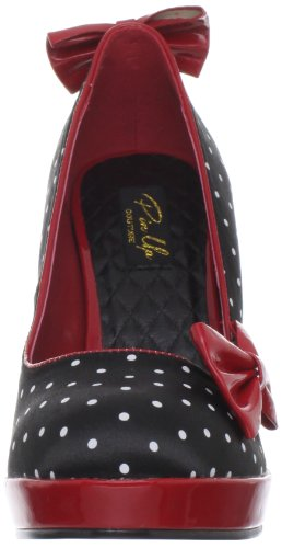 Pleaser Damen Secret-12 Pumps, Black (Blk Satin-Red Pat (Polka Dots Print)), 39 EU -